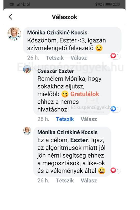 Császár Eszter ezt mondja rólunk