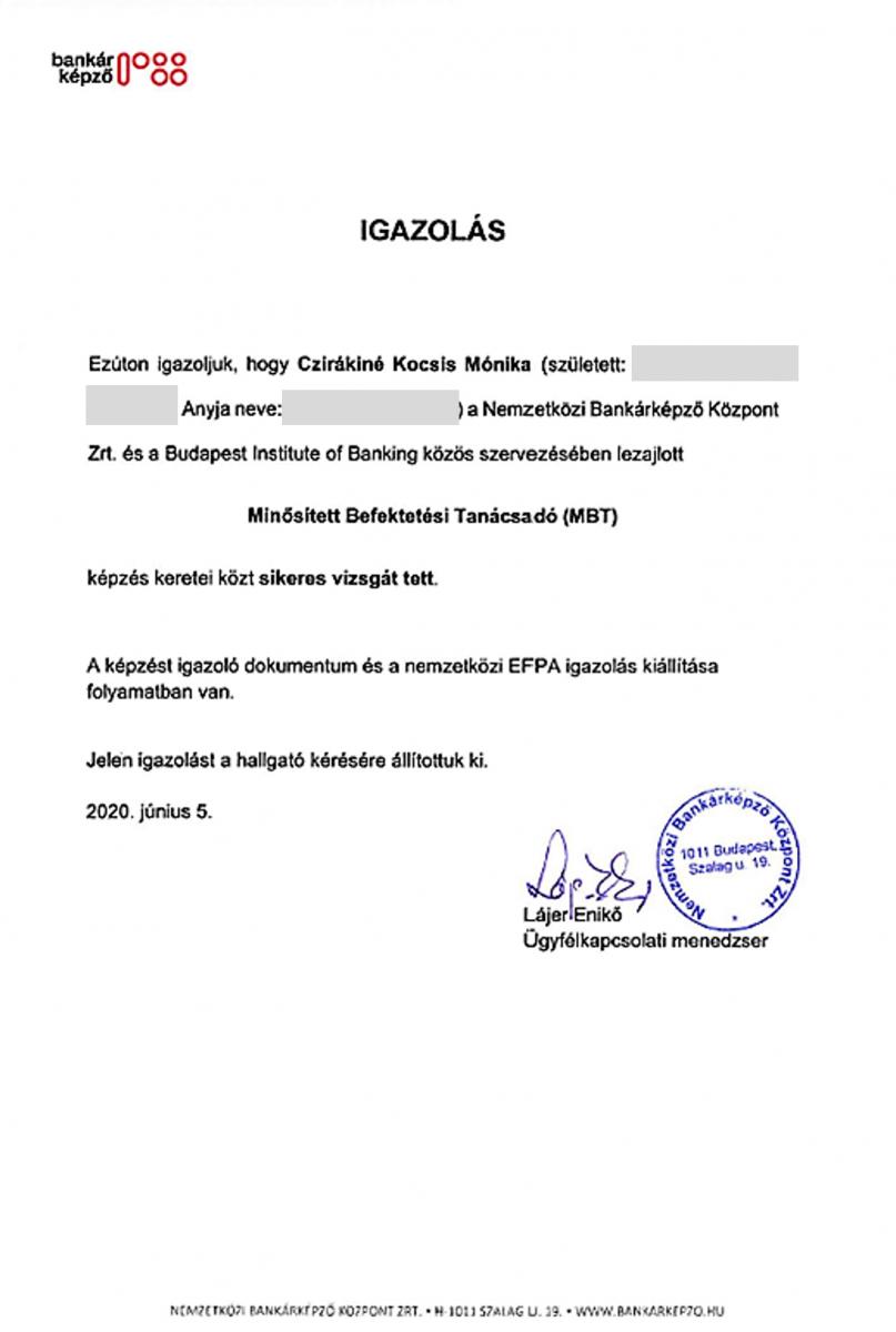 Cziráki Móni MBT - befektetési tanácsadó